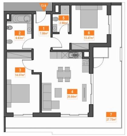106-sqm 2-bedroom Apartment in Praia da Rocha