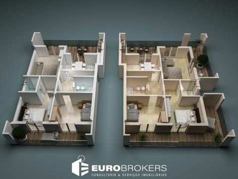 Apartamento T2 novo com suíte, varanda e amplo terraço