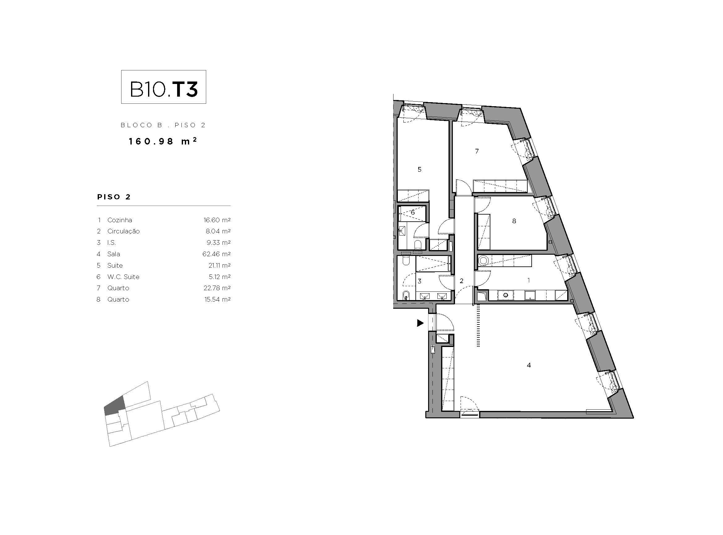 Fracção B10 - T3 - Bloco B - Bom Sucesso