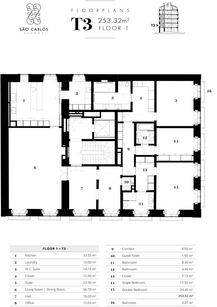 Apartamento 1 - Piso 1 - T3 - Largo de São Carlos