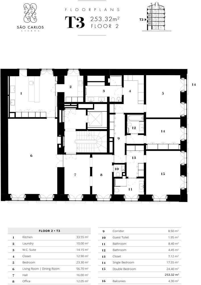 Apartamento 2 - Piso 2 - T3 - Largo de São Carlos