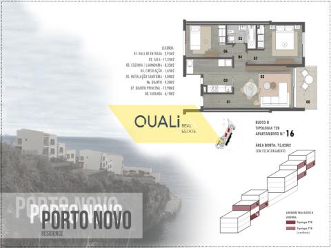 Two bedroom apartment with sea view € 185.000,00 Porto Novo, Madeira Island.